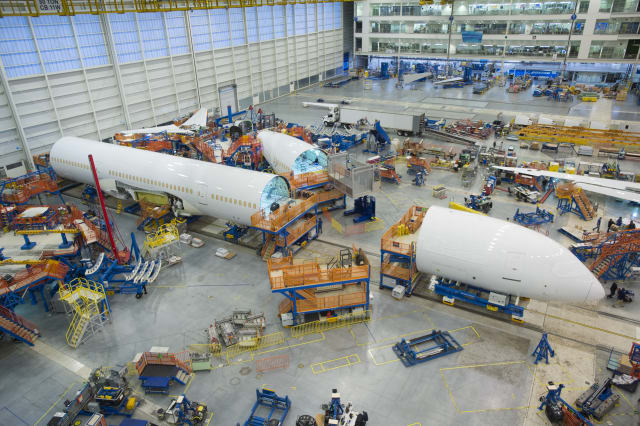 Composite Boeing 787s on the line at the firm's Charleston, SC facility.