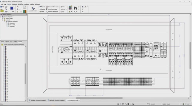 Cabinet panel design in Solid Edge 2021 Wiring and Harness Design. (Image courtesy of Siemens.)