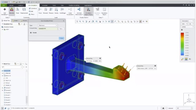 Using probes for parameter studies in Creo Simulation Live. (Image courtesy of PTC.)