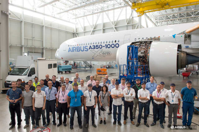 Airbus introduced an optimized method for ground vibration testing with its A350-1000 jetliner, significantly reducing the time needed to complete this required step in an aircraft's flight test and certification. (Image courtesy of Airbus.)