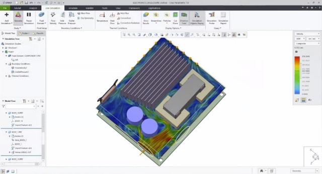 Airflow simulation in Creo Simulation Live. (Image courtesy of PTC.)