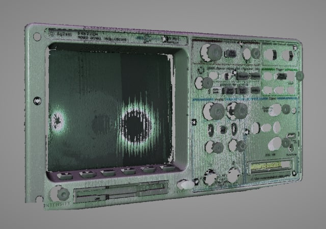 Front panel of an oscilloscope scanned with the EinScan-SP.