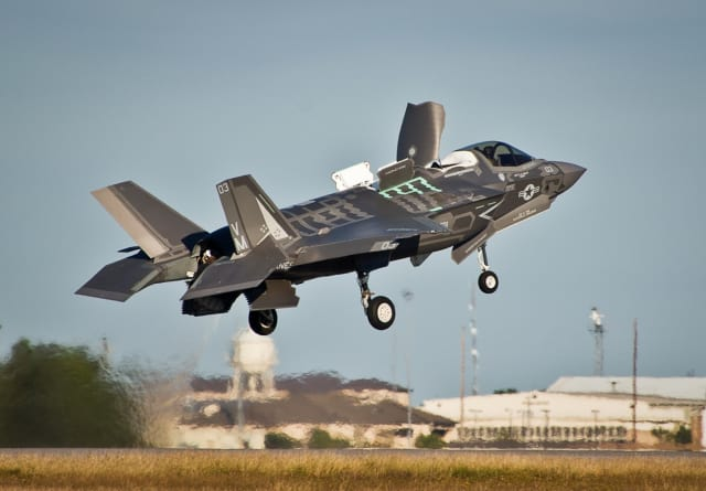 F-35 STOVL lifting off at Eglin Air Force Base. (Image courtesy of USAF/Samuel King Jr.)