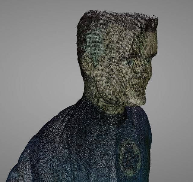 Close up of Mr. Fantastic scanned with the EinScan-SE showing points.