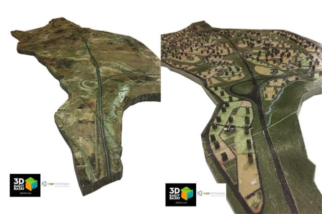 Side by side images of two 3D printed models made of a municipality in Turkey. On the left, the current state of the land and, on the right, the same area with buildings and other features representing city growth. (Image courtesy of Mcor and SBK3D Ltd.)