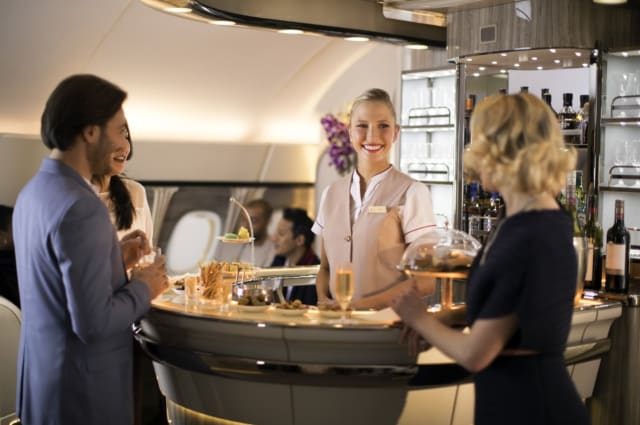 AIM Altitude developed this onboard lounge from the original concept designs by PierreJean Vision for Emirates Airline's Airbus A380 aircraft. (Image courtesy of AIM Altitude.)