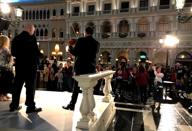 The music dies. Scene from the Venetian, site of AU2018