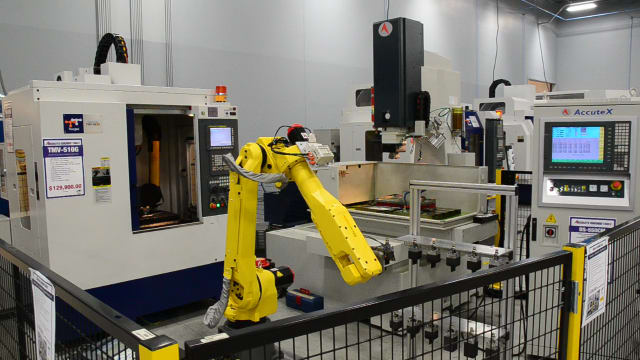 Robotic cell for producing graphite electrodes. (Image courtesy of Absolute Machine Tools.)