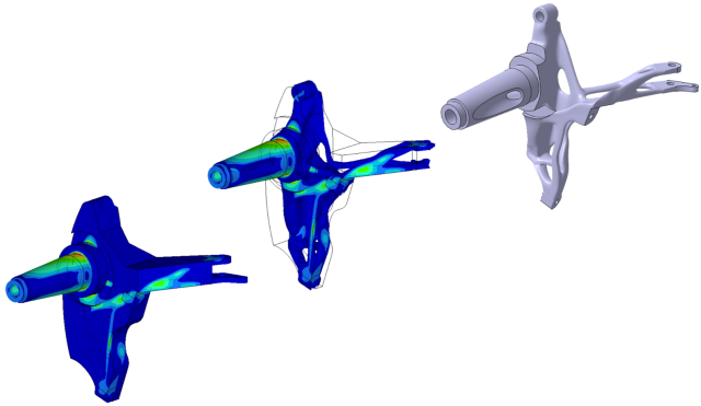 Finite element analysis of the start design of a wheel bearing technology demonstrator (left); numerical design optimization of the technology demonstrator to reduce the component's mass without impairing functionality (center); and CAD template for manufacturing the 3D metal component (right). (Image courtesy of Fraunhofer EMI.)