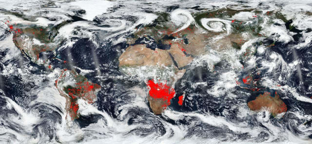 An infrared image of Earth, stitched together from NASA satellite footage. The red represents areas of forest fire. (Image courtesy of NASA).