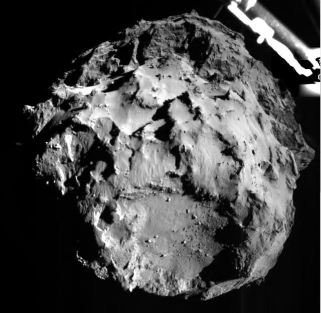 The view from the Rosetta Lander as it prepares to touch down on comet 67P/Churyumov-Gerasimenko. (Image courtesy of NASA.)
