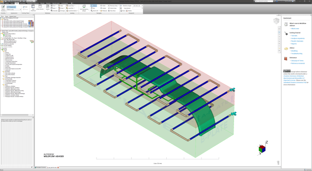 A basic mold cooling circuit simulated with Moldflow Adviser. (Image courtesy of Autodesk.)
