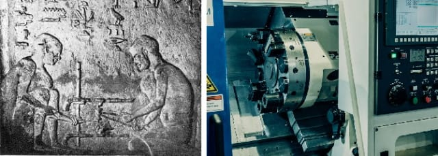 (Left) Depiction of an ancient Egyptian lathe. (Right) a modern CNC horizontal turning center.