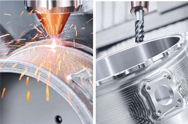 Hybrid manufacturing, sometimes call hybrid machining, combines additive and subtractive processes in a single machine.