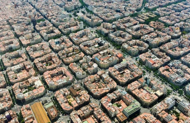 From the air, the city of Barcelona itself looks like it could have been 3D-printed.