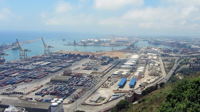 Barcelona port on the Mediterranean.