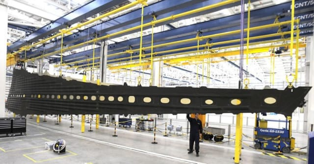 A composite wing assembly for the Airbus A350XWB.