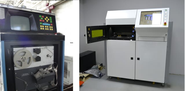(Left) An early CNC fed by paper tape. (Right) a metal 3D printer.