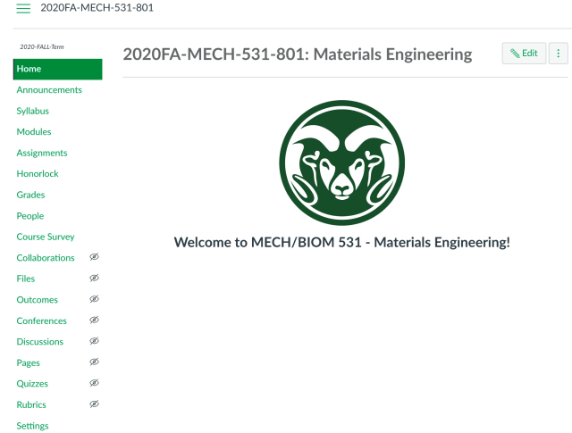 Example of a course homepage on Canvas. (Image courtesy of Colorado State University.)