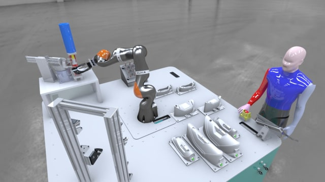 Assembly cell with human to robot collaboration