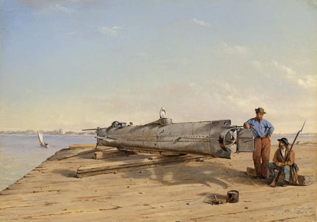 "Oil painting by Conrad Wise Chapman, ""Submarine Torpedo Boat H.L. Hunley, Dec. 6, 1863"""