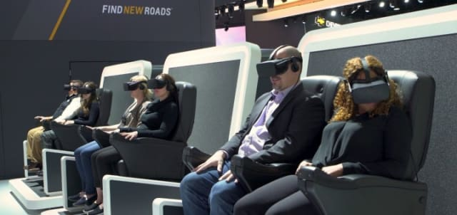 Attendees at the North American Auto Show experience new automotive model designs in virtual reality, immersing themselves in a virtual environment created by product design teams. (Image courtesy of Chevrolet.)