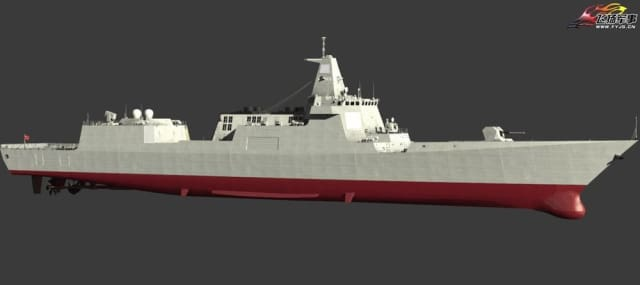An artist's depiction of a completed Type 055 cruiser. Given its size, the vessel should be able to support several helicopters or drones. (Image courtesy of Errymath.)