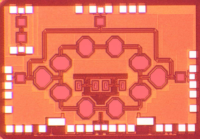 This is a chip microphotograph of the 25GHz fully-integrated non-reciprocal passive magnetic-free 45nm SOI CMOS circulator based on spatio-temporal conductivity modulation. (Image courtesy of Tolga Dinc/Columbia Engineering.)
