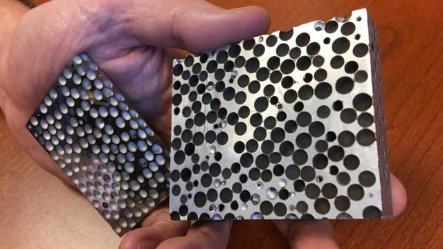 Researchers at North Carolina State University have developed a range of composite metal foams that are lighter and stronger than the materials they are made of. The foams can be used in applications from armor to hazardous material transport -- and the researchers are now looking for collaborators to help identify and develop new applications. (Image courtesy of Afsaneh Rabiei.)