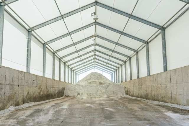 Interior of the Bethel Park salt storage building.  (Image courtesy of Legacy Building Solutions.)