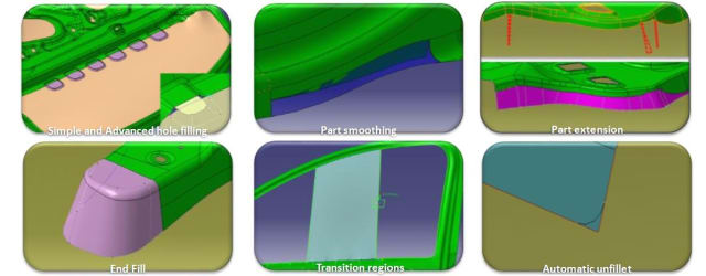 Integrated functionality to fix the geometry for the die face design tool. (Image courtesy of ESI Group.)
