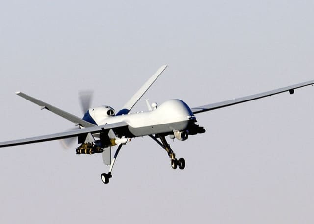 A MQ-9 Reaper used by the U.S. Air Force (example of a fixed-wing drone). (Image courtesy of U.S. Air Force/Staff Sgt. Brian Ferguson.)