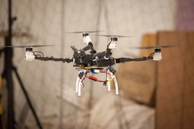 A five-rotor pentacopter designed with the MIT system. (Image courtesy of Jason Dorfman/MIT CSAIL.)