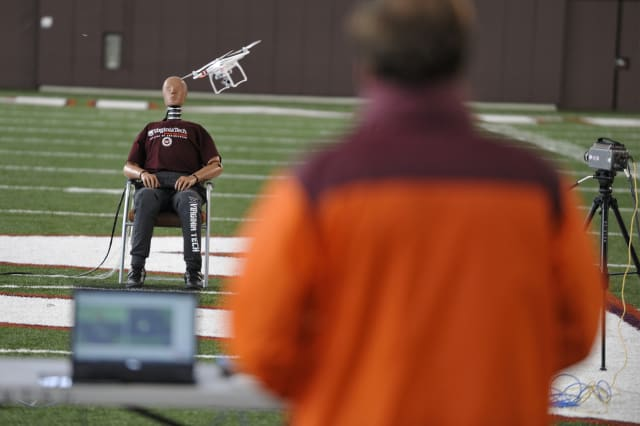 Researchers collect drone impact data at an athletics facility on Virginia Tech's Blacksburg campus under the direction of the Virginia Tech Mid-Atlantic Aviation Partnership and the Institute for Critical Technology and Applied Science. (Image courtesy of Virginia Tech.)