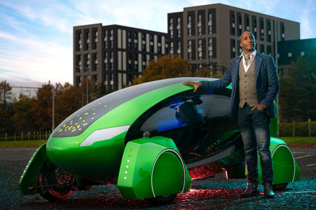William Sachiti with the Kar-go. (Image courtesy of the Academy of Robotics.)