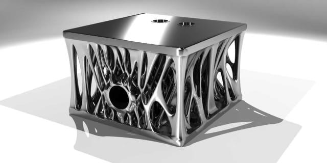 Engine block designed with Autodesk's generative design. (Image courtesy of Autodesk.)