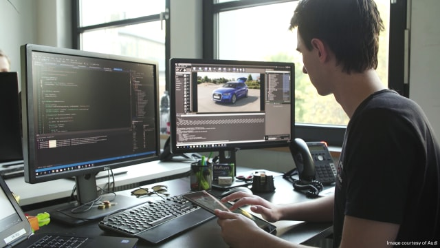 An Audi engineer using Unreal Engine for vehicle design. (Image courtesy of Audi.)