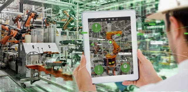 A slightly stylized view of PTC's ThingWorx solution in action on the shop floor.