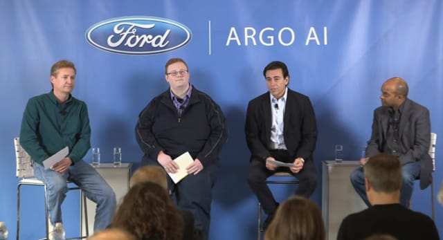 Drive for Autonomous Vehicle Leadership. Shown here, from left to right, are Peter Rander, Argo AI COO; Bryan Salesky, Argo AI CEO; Mark Fields, Ford president and CEO; Raj Nair, Ford executive VP, product development. (Image courtesy Ford Motor Company.)