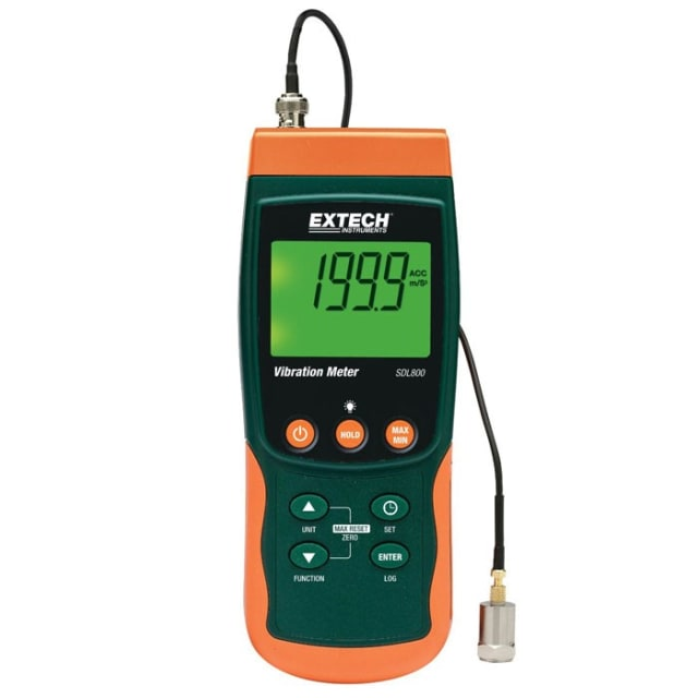 A hand-held vibration meter. The accelerometer can be magnetically attached to machinery. (Image curtesy of Extech Instruments.)