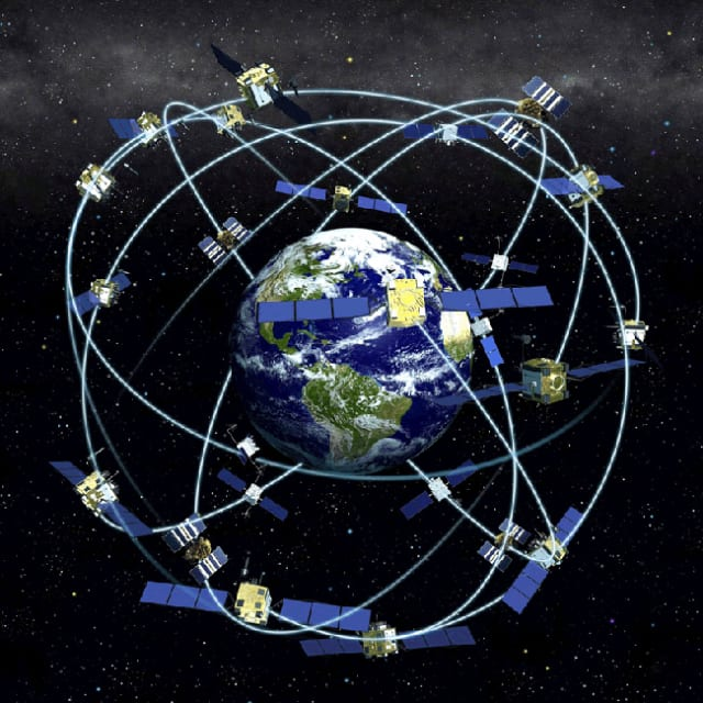 The first GPS satellite, the first Navigation System with Timing and Ranging (NAVSTAR-1) satellite was launched in February of 1978 aboard an Atlas rocket. Ten more GPS satellites were launched (NAVSTAR 2-11) from 1978 to 1985, with only one failure (NAVSTAR  7). These are known as Block 1 satellites, and they were used to test out the system to be sure that it worked. 13 more GPS satellites, known as Block 2 were subsequently launched, creating a 24-satellite constellation. (Image courtesy of NASA.)
