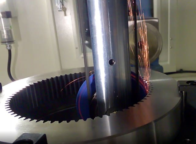 Grinding the involute profile of an internal gear on Chien Wei's new machine. (Image courtesy of Chien Wei.)