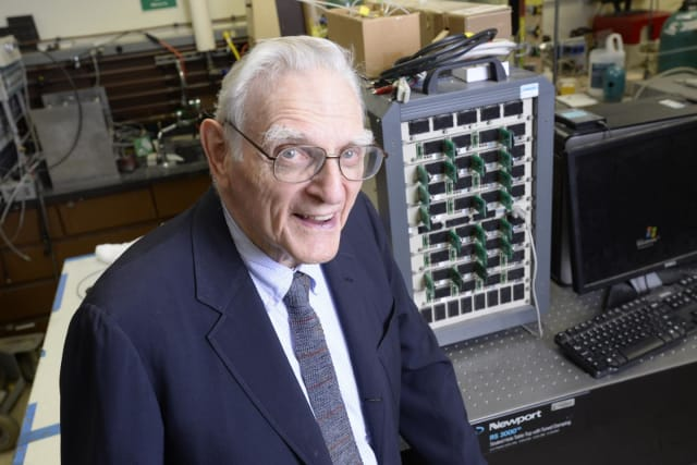 John Goodenough, professor in the Cockrell School of Engineering at The University of Texas at Austin and co-inventor of the lithium-ion battery, in the battery materials lab he oversees. (Image courtesy of Cockrell School of Engineering.)