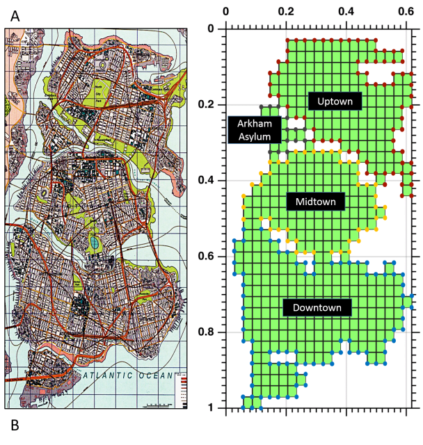 Layout of Gotham City and its corresponding finite element mesh. (Image courtesy of Hussam Mahmoud and Akshat Chulahwat/Colorado State University.)