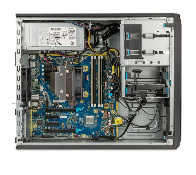 The interior of the HP Z2 G4 Tower pictured above is highly customizable for differing product design workflows and large 3D modeling workflows. Besides a wide range of CPUs from Intel and support for multiple GPUs from AMD and NVIDIA, there are also two five-inch external drive bays at the top of the system that can be converted to support two additional hard drives, optical storage devices or media card readers. (Image courtesy of HP.)