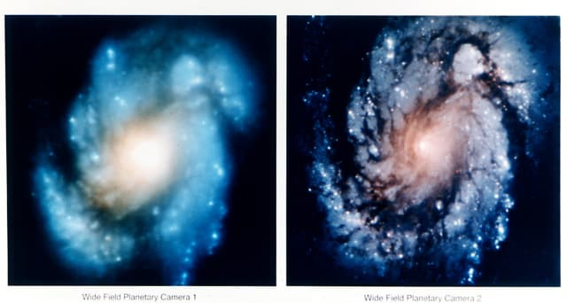 Comparison of the Hubble Space Telescope's view of the core of the galaxy M100 before (left) and after(right) corrective optics were deployed to compensate for the optical aberration in Hubble's primary mirror.