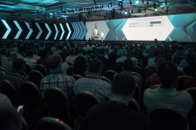Hexagon president and CEO Ola Rollén delivers the opening keynote. (Image courtesy of Hexagon.)