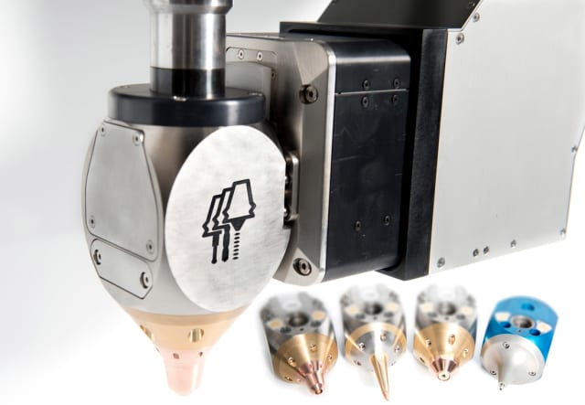 A range of AMBIT tool heads for hybrid manufacturing. (Image courtesy of Hybrid Manufacturing Technologies.)