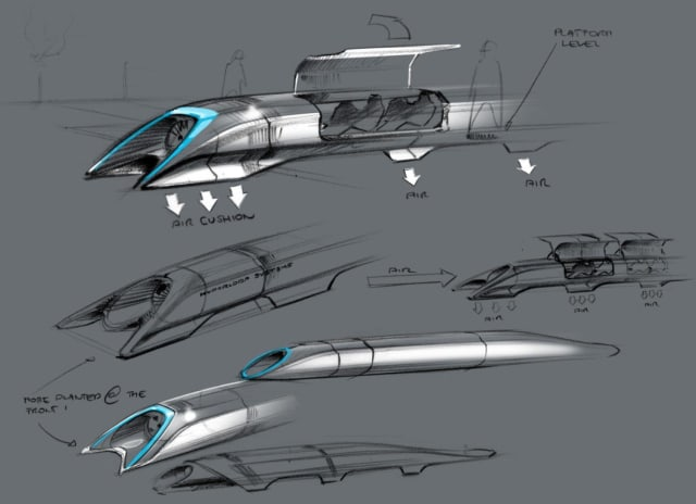Sketches of Hyperloop pod designs from the Hyperloop Alpha whitepaper. (Image from Hyperloop Alpha whitepaper.)