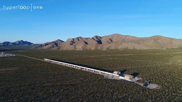 Hyperloop One's full scale test track, DevLoop, in the Nevada desert. (Image courtesy of Hyperloop One.)